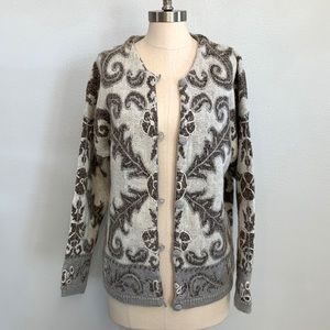 Vintage Express Tricot Embroidered Knit Cardigan